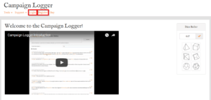 Campaign Logger login and registration