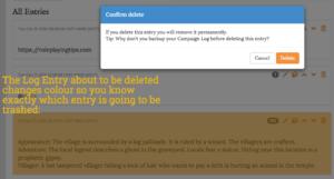 Log Entry delete confirmation