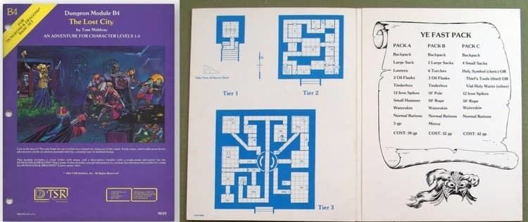B4 Lost City Dungeons & Dragons Adventure Cover and Maps