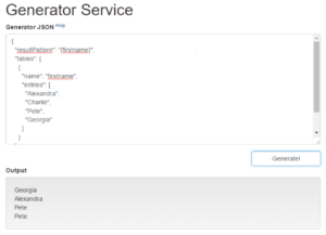 Copy and paste the JSON code into the text area on the generator service home page