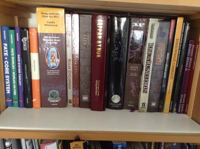 My megadungeons bookshelf